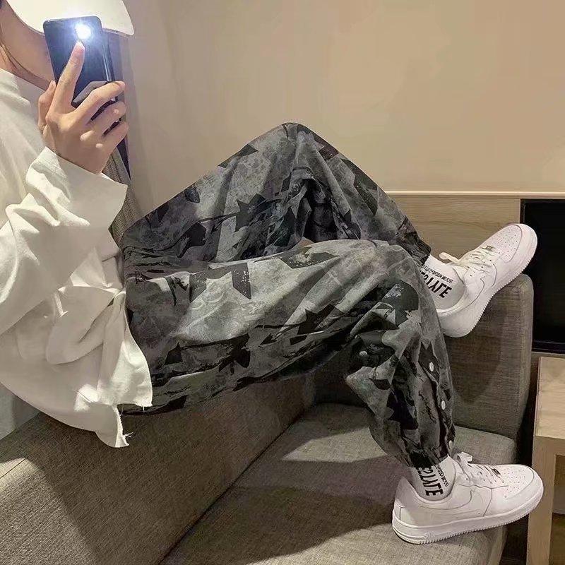 Штаны HOUZHOU мужские камуфляжные, джоггеры, спортивные брюки, черные брюки, повседневные камуфляжные, для бега, летняя Корейская уличная одежд...