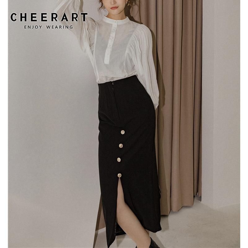 CHEERART faldas largas negras abrigo para mujer cintura alta Split damas Midi falda Bodycon con botón falda coreana 2020 ropa