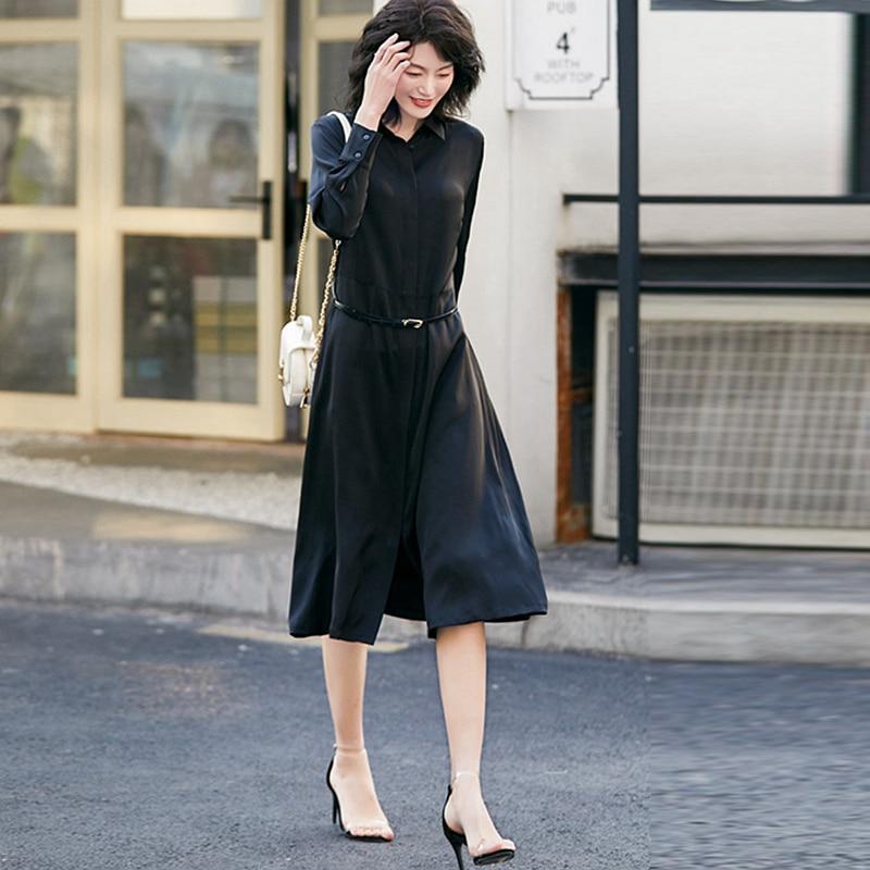 Vestido de mujer 93% seda Pesada Estilo elegante diseño Simple fajas manga larga botón cubierto tela de grado sólido nueva moda