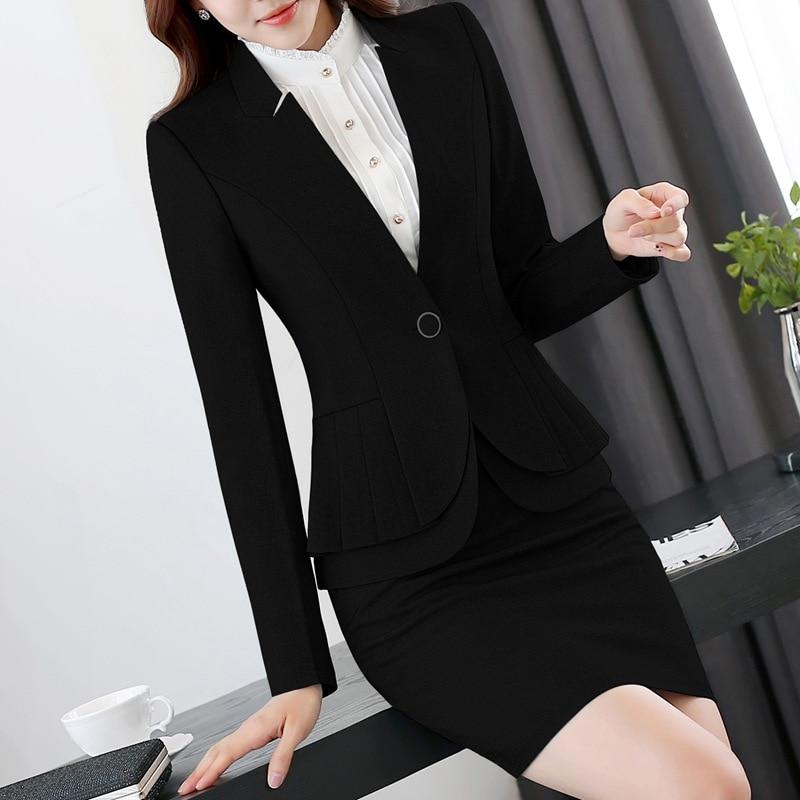 امرأة بدلة تنورة سترة روبا Oficina موهير أنيقة كاملة كم كشكش مطوي السترات و الحلل 2 قطعة العمل مكتب جناح