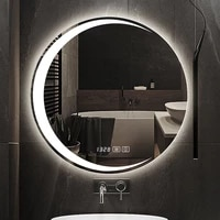 round 3 color led light bath smart anti fog hotel bathroom mirror beauty makeup 3x magnification wall mounted vanity mirrors