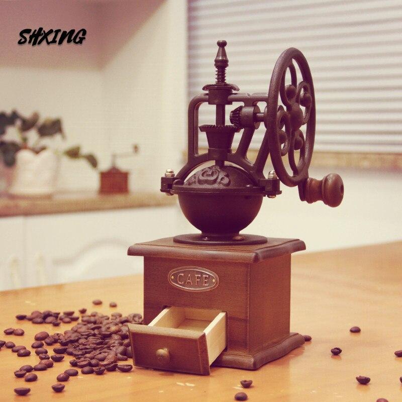 Manual do Vintage Moedor de Café com Movimento Moinho de Madeira Máquina de Café para Decoração Shxing Cerâmica Retro Casa Mão