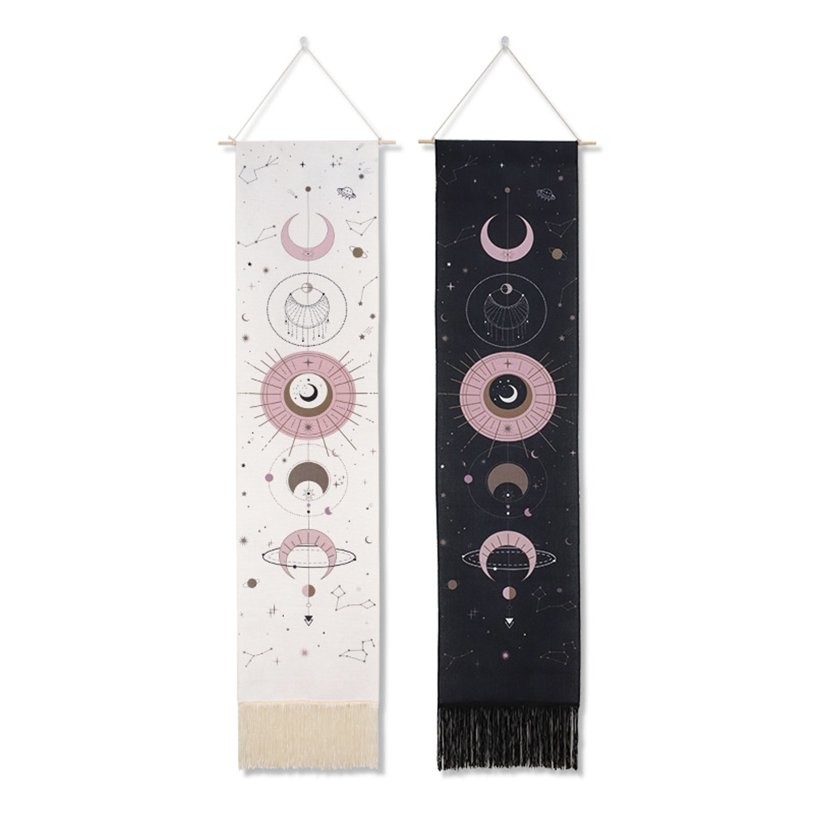Moon Phase Tapestry Wall Hanging Boho Art Tapestries Bright Printing Pattern hand-made lace hanging wall decoration