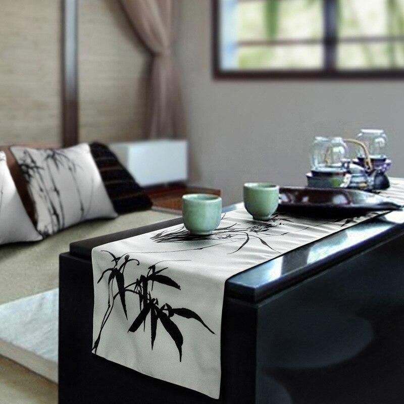 مفرش طاولة صناعة يدوية صينية تقليدية زن ، مفرش طاولة ياباني ، حبر ، بامبو ، LA887
