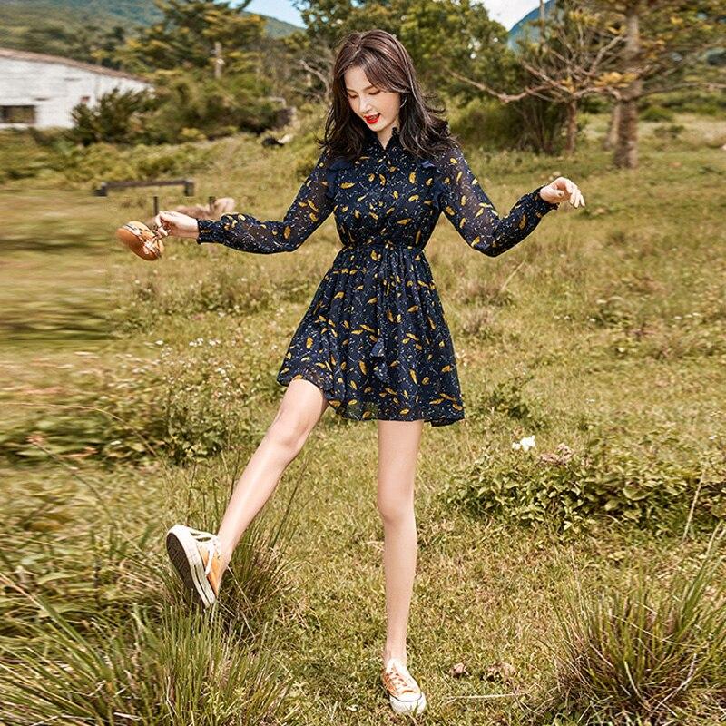 2020 Spring and Autumn Dress High Waist Short Small Temperament Slimming Floral Chiffon Jung Ji Hoon