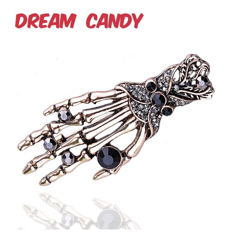 Dream Candy Vintage 2 colores calavera Palma broches para mujer broche de diamantes de imitación alfileres hombres joyería accesorios de moda nueva llegada
