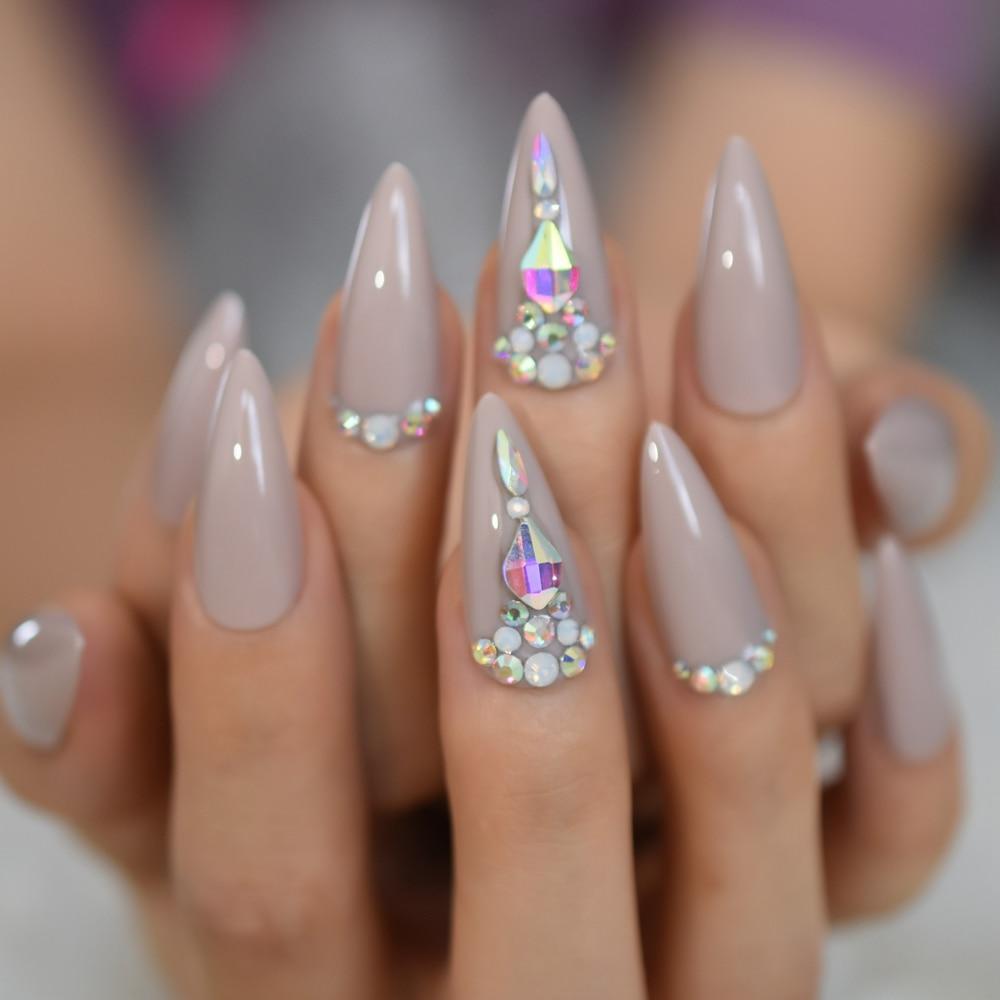 Cristal faux ongles pointus Strass Long Stiletto acrylique artificiel ongles Art conseils Strass conçu manucure conseils 24
