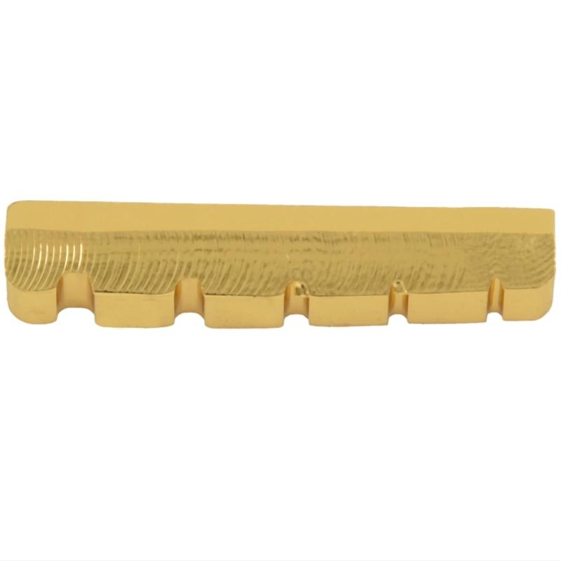5 cuerdas de latón ranurado dorado palteado bajo eléctrico guitarra puente tuerca 45,2*6*8/8,9mm