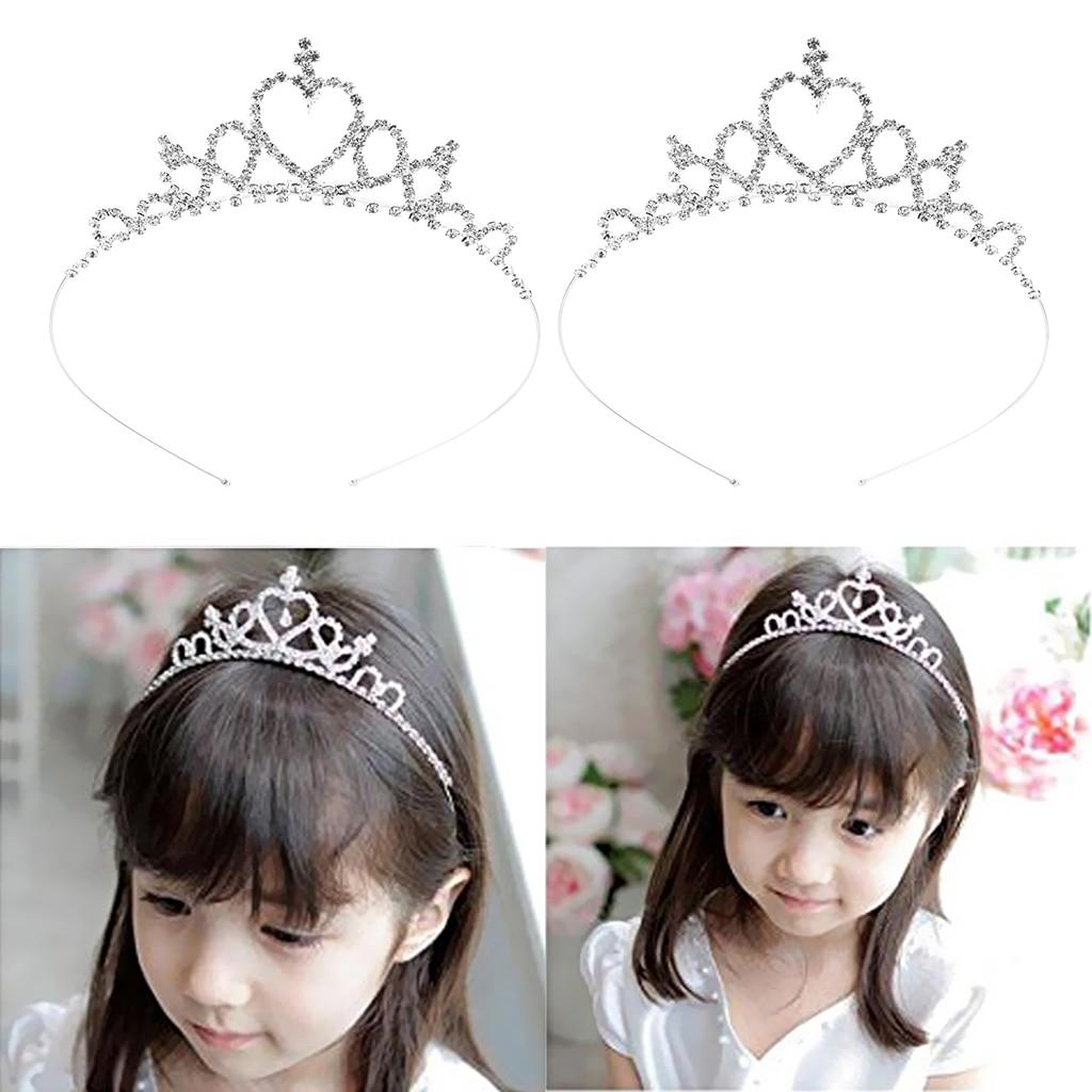 Banda de cabello de cristal con diamantes de imitación para niños, diadema de diadema plateada con aro para pelo de novia, 2 paquetes