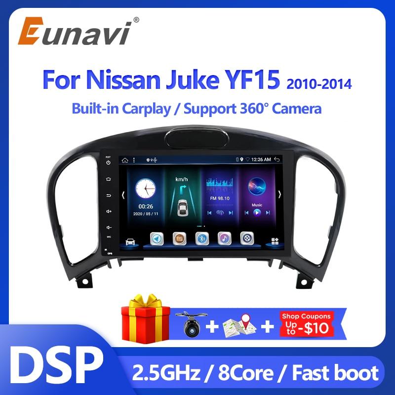 Eunavi 2 الدين أندرويد 10 سيارة راديو الوسائط المتعددة مشغل فيديو لنيسان Juke YF15 2010-2014 رئيس وحدة الملاحة لتحديد المواقع 2 الدين لا DVD