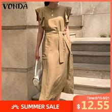 Bohemian Sundress Women Casual Loose Sleeveless Ruffle Maxi Long Dress With Belt VONDA 2020 Summer Dress Party Vestido Plus Size