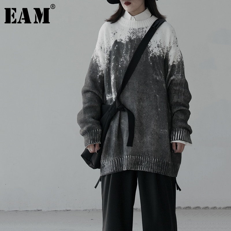 [EAM] jersey tejido de tamaño grande gris suelto cuello redondo manga larga mujeres Pullovers nueva moda Otoño Invierno 2020 1K516