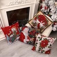 45x45cm throw pillow cover christmas decoration window sofa pillowcase home decor santa claus snowman wreath pillow case