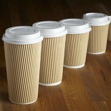 MONGKA jetable ondulation Triple paroi papier tasse à café tasses marron avec/sans couvercles