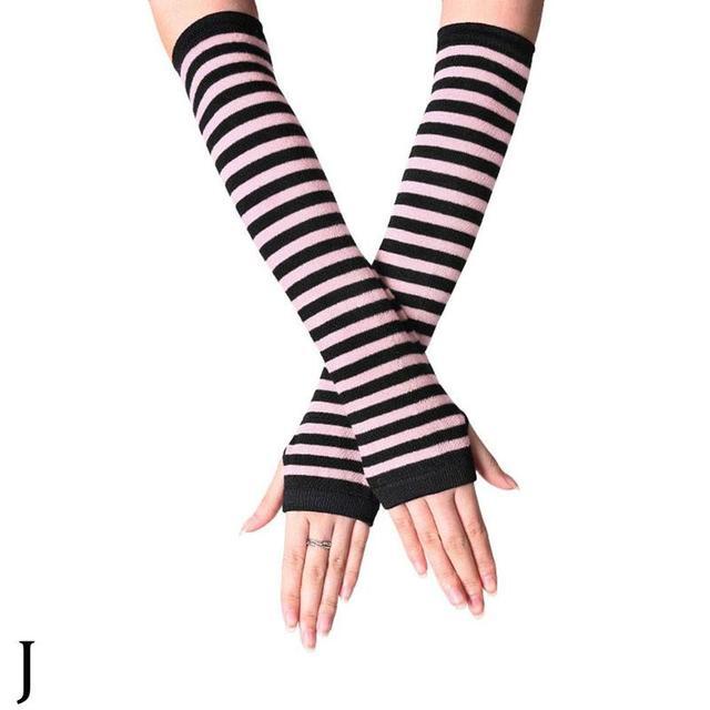 1 Pair Of Soft Elastic Wrist Knitted Fingerless Half Finger Wrist Sleeves Warm Arm Knitted Gloves Women Winter Long Fingerless G Women S Arm Warmers Aliexpress