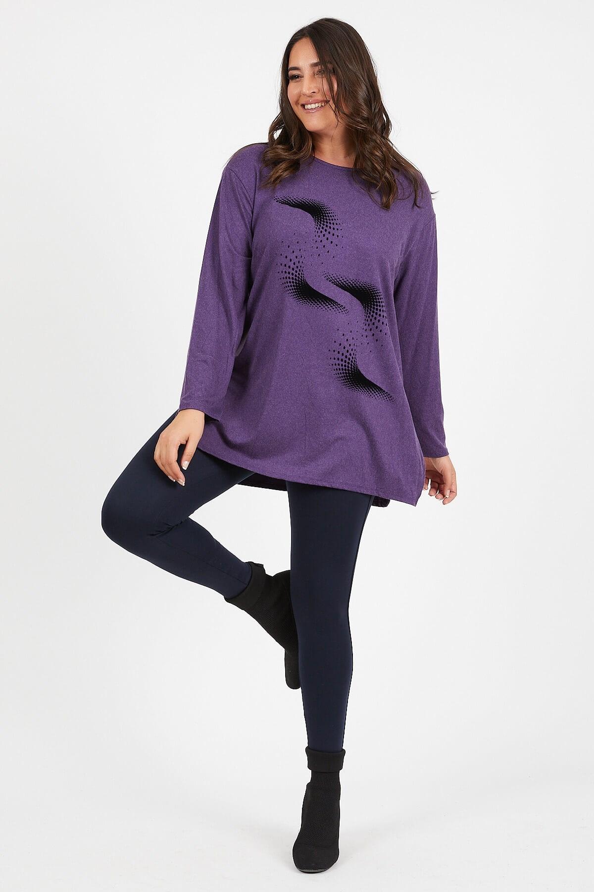 Plus Size Wave Printed Wool Viscose Jumper wave pattern open knit jumper