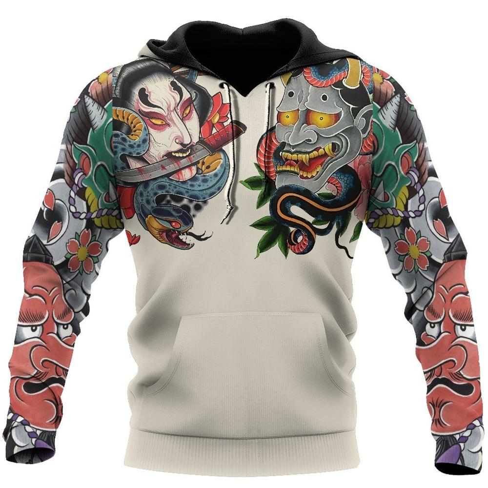Модные мужские толстовки японская культура Oni маска узор 3D Печатный Свитшот унисекс повседневные толстовки на молнии M206