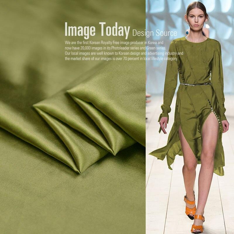18 otoño nuevo 55% seda 45% algodón tela pesada satinada para mujeres vestido 114cm de ancho 20Momme suave moda tela para costura DIY venta