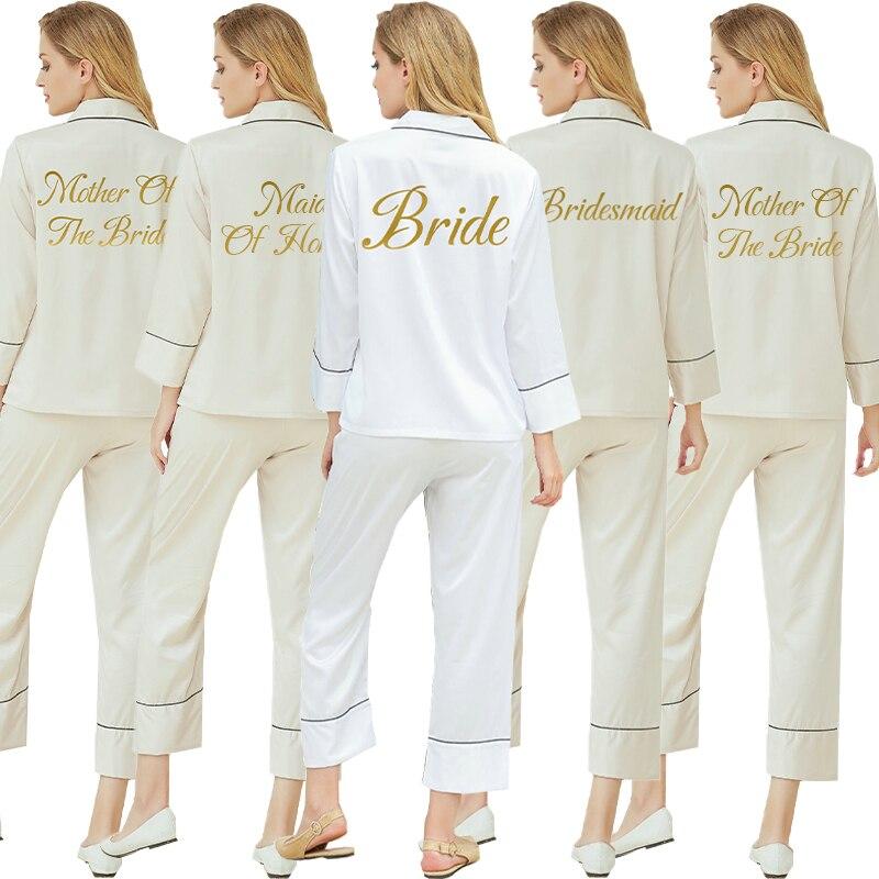 Шелковая атласная однотонная Пижама для женщин, пижама на заказ, Свадебный пижамный комплект, домашняя одежда с надписями, ночная одежда, ше...