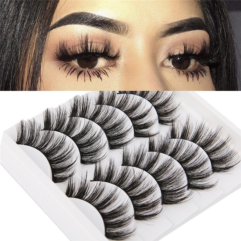 5 Pairs 3D Faux Mink Hair Soft False Eyelashes Fluffy Wispy Long Thick Lashes Handmade Soft Eye Lash