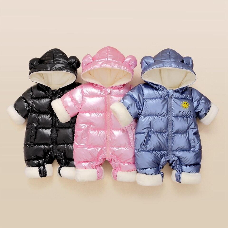 Baby Boy Girl Warm Rompers 2021new Winter Clothing Newborn Hooded Jumpsuit Baby Waterproof Snowsuit Plus Velvet Outerwear Coat
