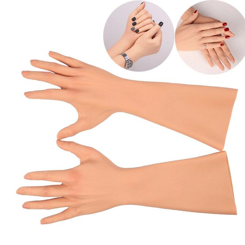 Liifun-قفازات سيليكون مع أظافر للنساء ، واقيات يد من السيليكون مع أحزمة متقاطعة ، إكسسوار أداء تأثيري