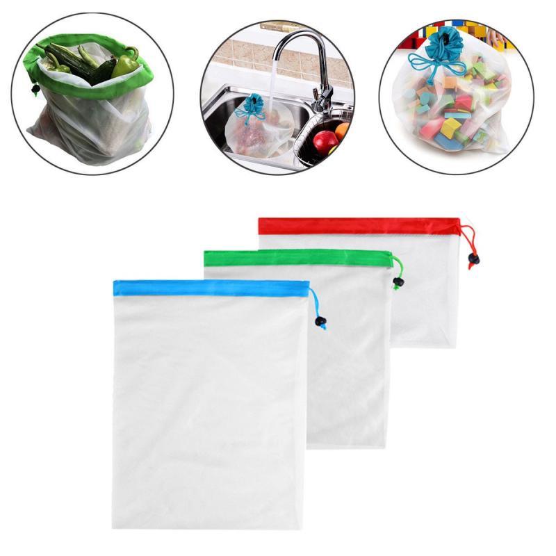 再利用可能なメッシュショッピングバッグフルーツ文字列食料品ショッパートメッシュネット不織布バッグファッション市場バッグおもちゃ収納袋