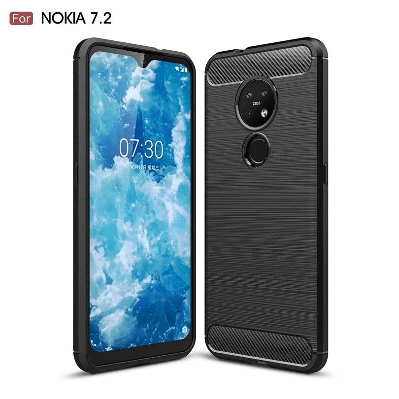 Funda de teléfono a prueba de golpes para Nokia 7,2/Nokia7.2 fibra de carbono TPU Material de dibujo funda de teléfono para Nokia 7,2