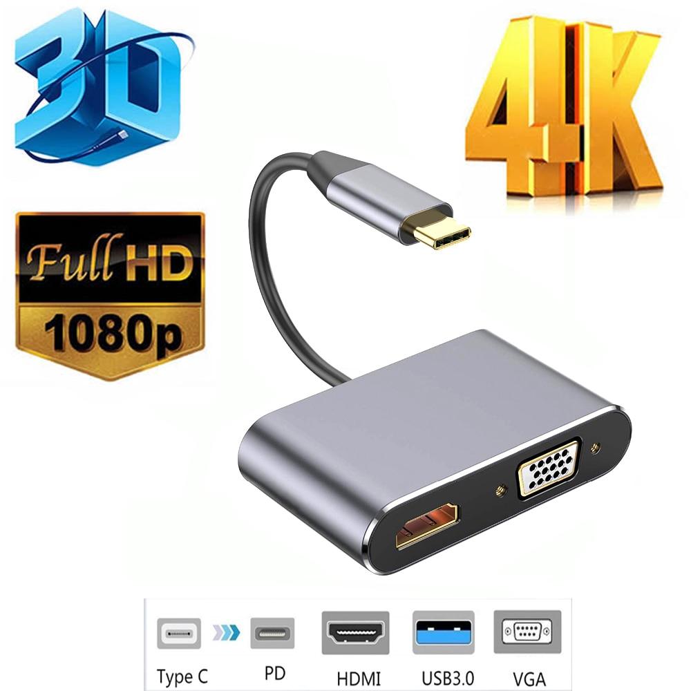 4 в 1 USB C HDMI Тип c к HDMI 4 к адаптер VGA USB3.0 аудио видео конвертер PD для Macbook pro huawei mate 30 Pro мобильного телефона