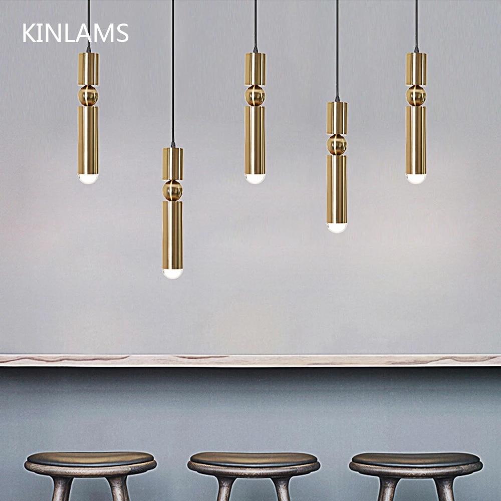 Modern Pendant Lights Chandelier Dining Room Indoor Lamp Decoration Cylinder Pipe Golden Hanging Lamp Kitchen Lighting Fixture