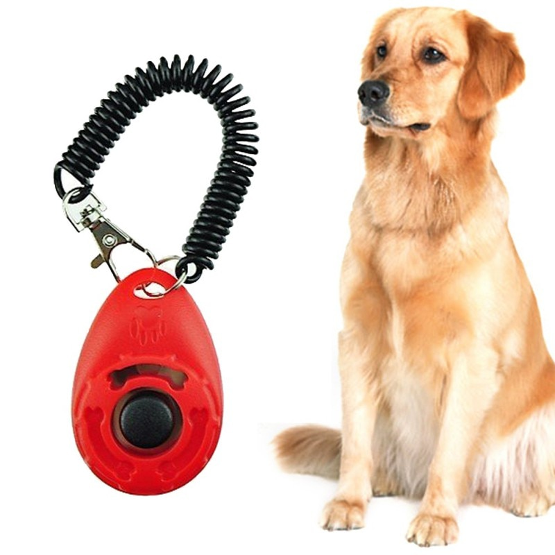 Dog Pet Clicker Training Aid Pet Dog Tranining Supplies Adjustable Wrist Strap Smart Dog Training Accessories Key Chain