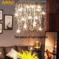 NANS Crystal Ceiling Lights Indoor Lighting LED Modern G4 Led Meteor Rain lighting for Living/Dining Room Lamps Home Decoration