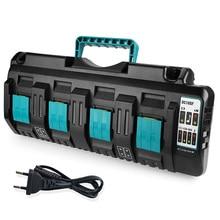 Новинка DC18RCT Liion зарядное устройство 3A зарядный ток для Makita 4 порта 14,4 в 18 в BL1830 Bl1430 DC18RC DC18RA Электроинструмент + USB порт