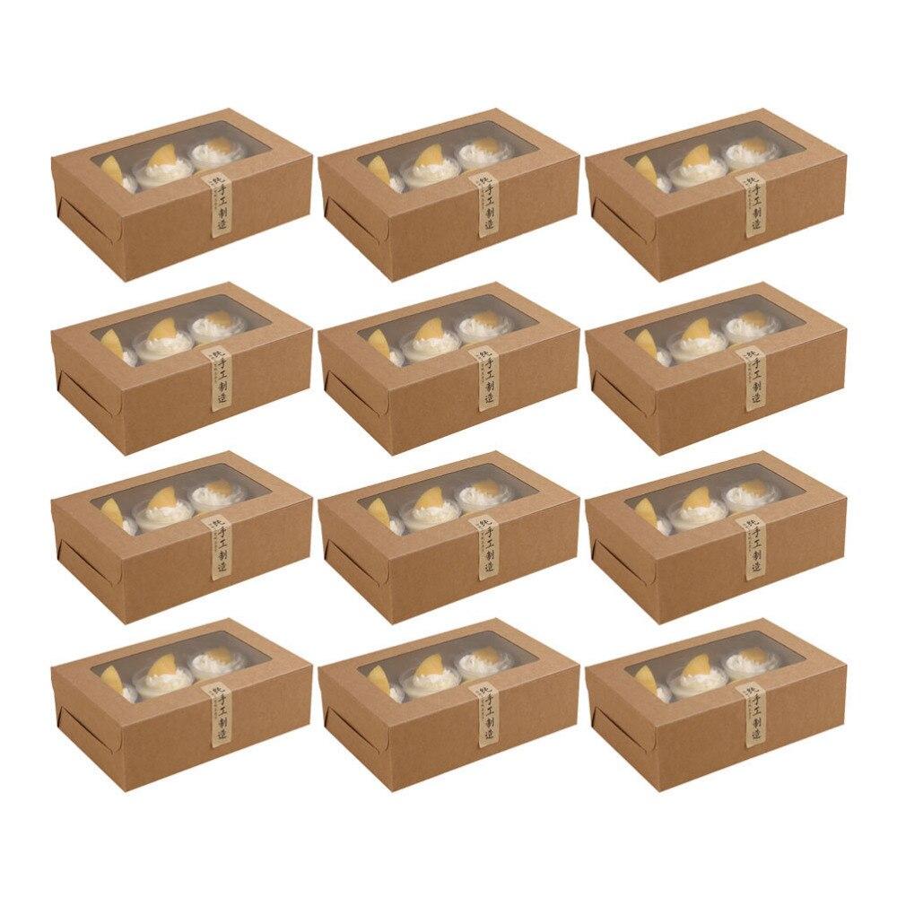12Pcs 6-Grids Cake Boxes Paper Cupcake Packing Box (Kraft Paper, Stickers)