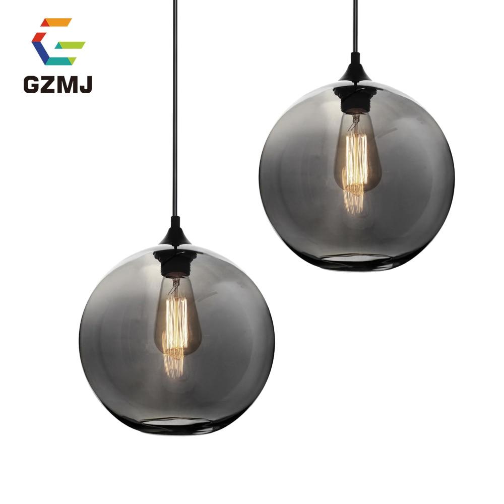 GZMJ Drak Gray Glass Ball Lamp Colorful  Amber Transparent Hang Modern Lamp LED Light Bedroom Bedside Lamp Restaurant Light