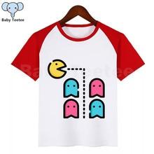 Забавная футболка Pac-Man Eat Ghost для мальчиков и девочек детские летние топы с круглым вырезом, Детская футболка с принтом Pacman одежда для малышей