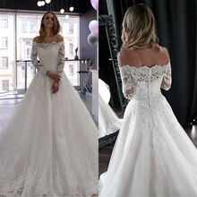 Blanc épaule dénudée brillant perles Applique dentelle robe de mariée à manches longues robes de mariée 2020 vestido de noiva