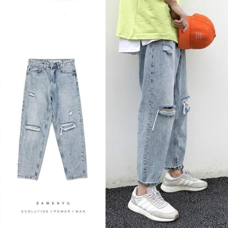 Японские рваные джинсы, мужские прямые свободные Капри, корейские повседневные штаны, Мужская одежда для хип-хопа, уличная одежда, потертые ...