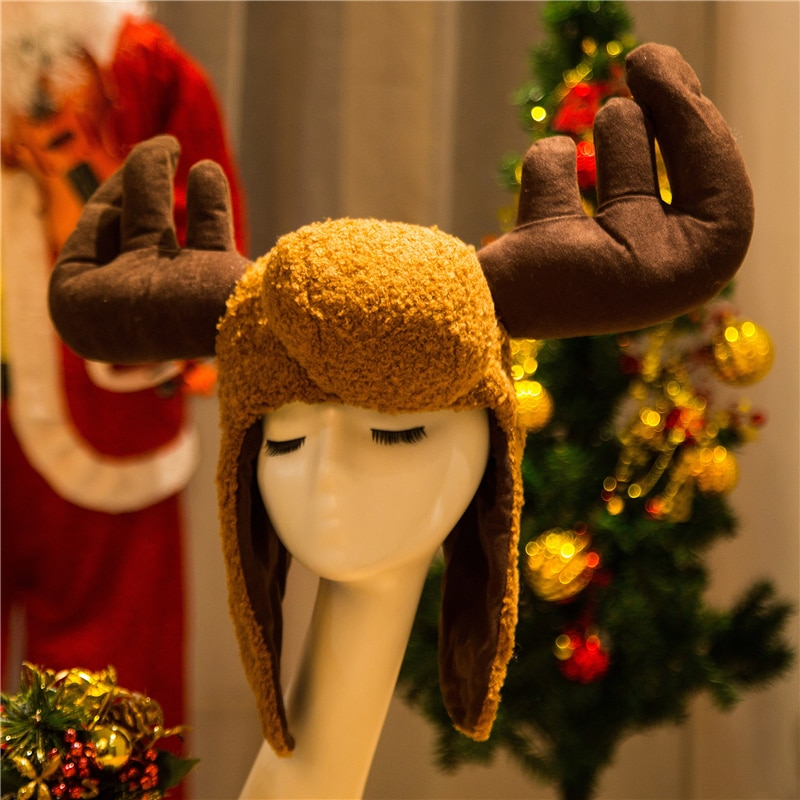 قبعة على شكل غزال بومبر ، للجنسين ، حيوان ، دافئ ، للخارج ، تأثيري ، سميك ، هدية الكريسماس ، 2019
