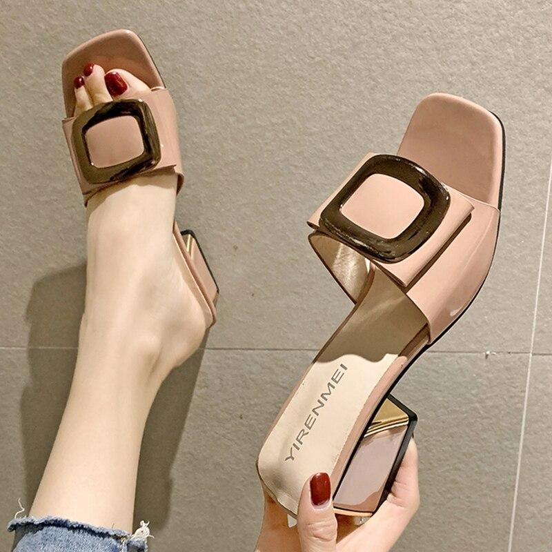 GHJIOL Summer Women Shoes Slippers Fashion Metal Buckle Ladies Mules Slides High Heels Pumps Women Casual Slippers Zapatos Mujer недорого