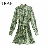 traf za womens clothing vintage dress summer green leaf printed single breasted shirt dress casual chic button belt vestidos