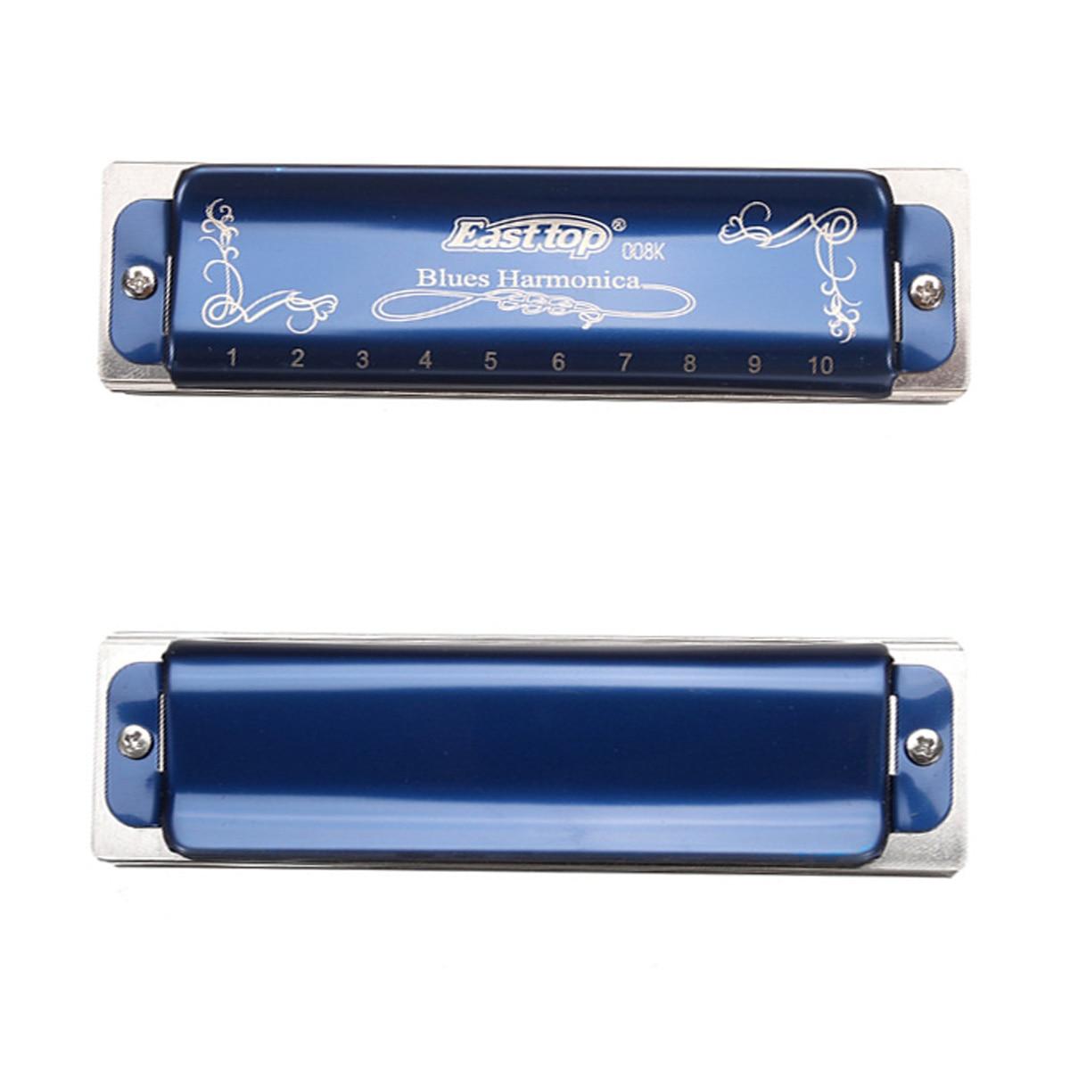Easttop T008K 10 Holes Blues Harmonica Limited Version Blue Color Diatonic Harp Musical Instrument A B C D E F G Keys With Case