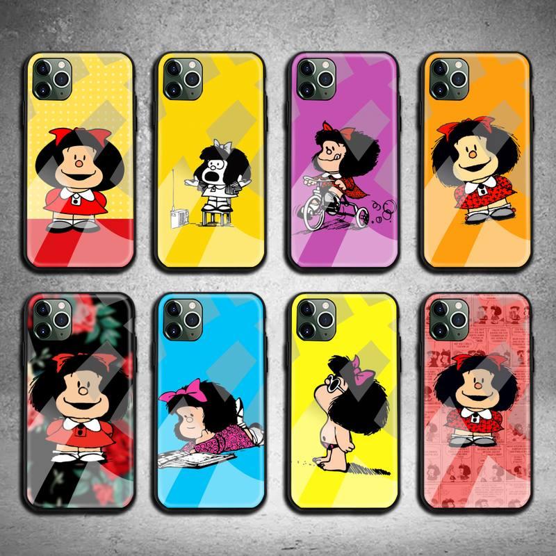 Mafalda-Funda de teléfono de vidrio templado, carcasa de Anime para iPhone 11...
