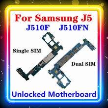 Desbloqueado para Samsung Galaxy J5 J510F J510FN placa base simple/dual SIM original con chips placa lógica Android OS J510F J510FN