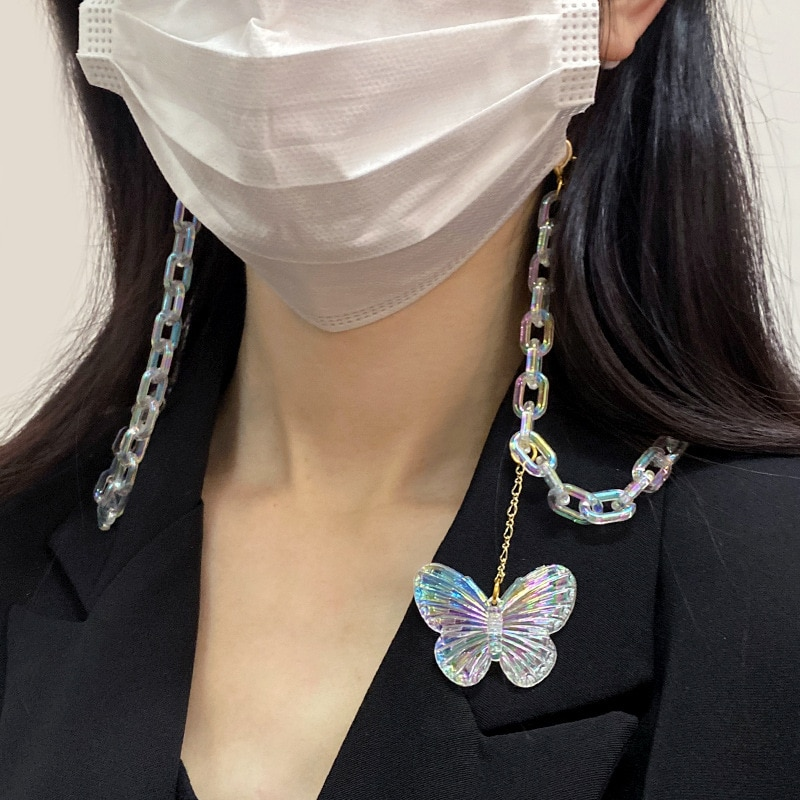 Korea Acrylic Color Transparent Chain Mask Chain for Woman Glasses Chains Anti-lost Lanyard Butterfl