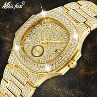 Missfox Watch Men Luxury Brand Top Selling Patek Trending Rose Gold Men's Watch Quartz Chronograph Diamond Steel Clock Gift Box