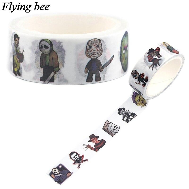 20 unids/lote Flyingbee 15mmX5m washi Tape de papel Horror asesino cinta adhesiva de Michael Myers etiqueta engomada cinta adhesiva X0557