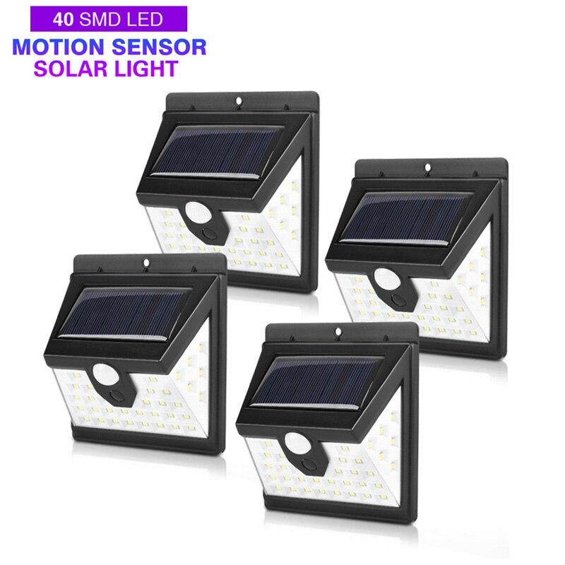 40LED Luz de energía Solar 3 modos Sensor de cuerpo humano 4 Uds lámpara Solar de pared al aire libre impermeable ahorro de energía jardín patio luces