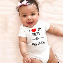 2020 I Love My Uncle This Much Funny Newborn Baby Casual Romper Infant Girls Boys Short Sleeve Fashi
