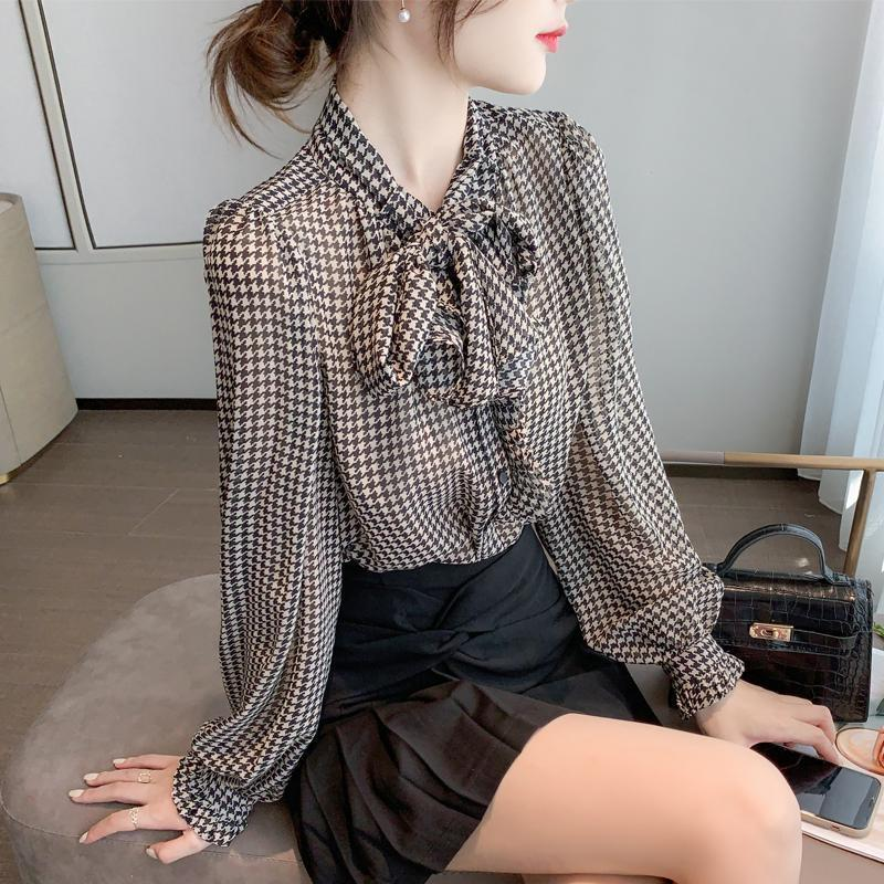 Temperament Western Style Ribbon Lightly Mature Bow Long-Sleeved Shirt Chiffon Women s 2021  Pattern Print summer